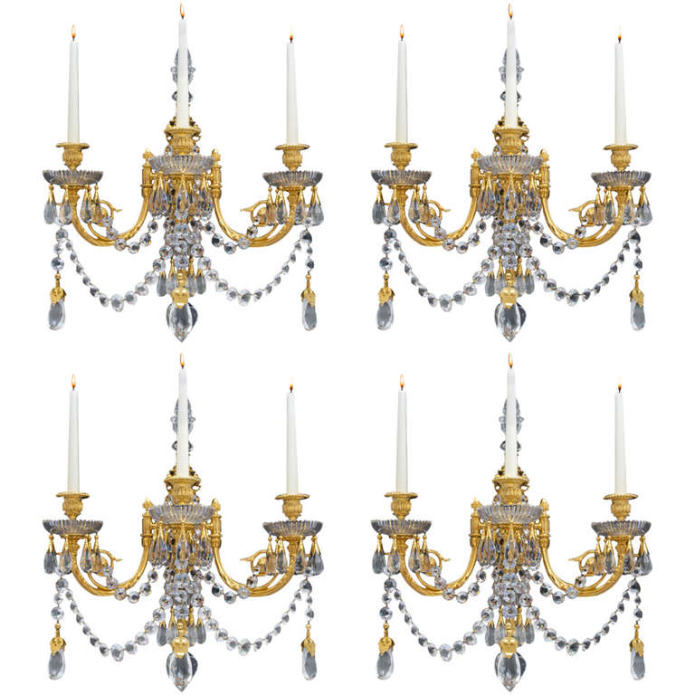 Important Set of Four Victorian Wall Lights by Perry & Co