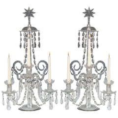 Fine Quality Pair of Cut Crystal Candelabra in Rococo Style