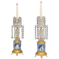 Fine Pair of George III Ormolu-Mounted Wedgwood Base Candlesticks
