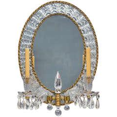 Unusual Early Victorian, Ormolu and Cut Glass, Two Light Girandole