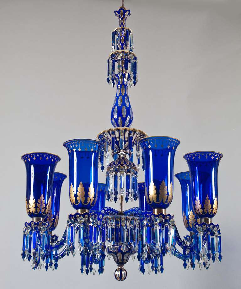 Important Blue Glass Chandelier and Pair of Matching Wall Lights by F&C Osler For Sale at 1stdibs