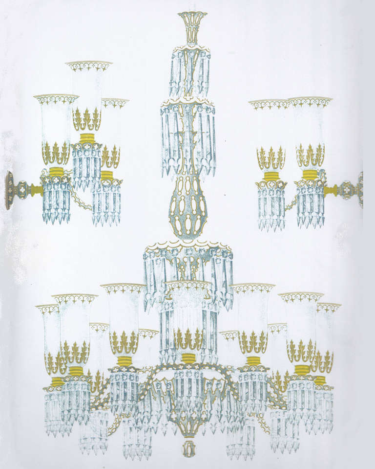 Do Wall Sconces Have To Match Chandelier : Important Blue Glass Chandelier and Pair of Matching Wall Lights by F&C Osler at 1stdibs