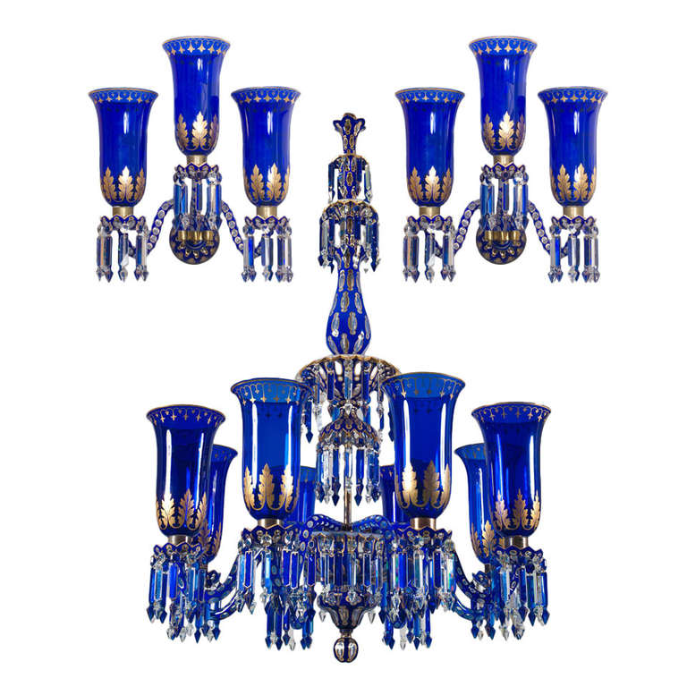 Wall Sconces With Matching Chandelier : Important Blue Glass Chandelier and Pair of Matching Wall Lights by F&C Osler For Sale at 1stdibs