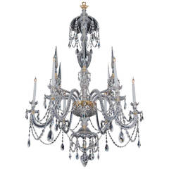 Fine Six-Light Crystal Chandelier in Adam Style