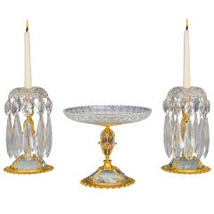 Pair of Ormolu-Mounted, Cut Glass Candlesticks with Matching Comport