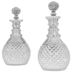 Pair of Diamond and Slice Cut Regency Decanters