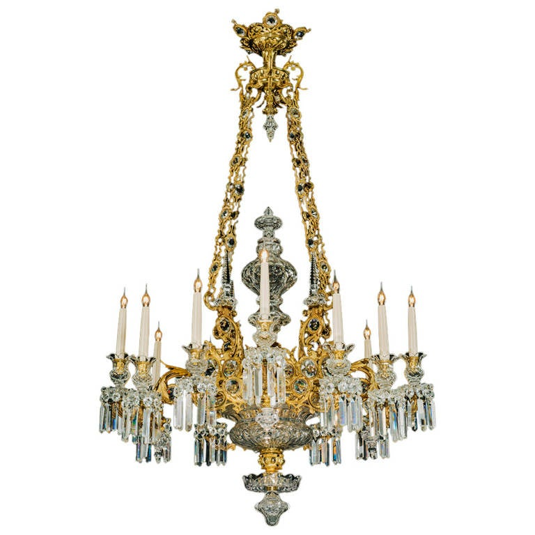 Unusual Gilt Bronzed and Cut Glass Victorian, Twelve-Light Chandelier