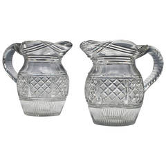 Fine Pair of Irish Regency Cut Glass Jugs
