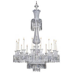 Fine Mid-Victorian Frosted Sixteen-Light Cut-Glass Chandelier