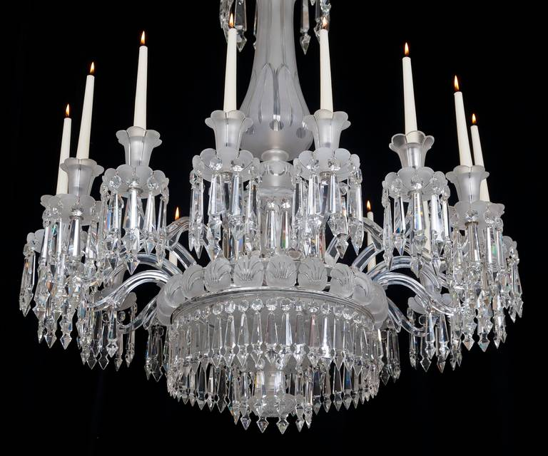 Fine mid victorian frosted sixteen light cut glass chandelier at 1stdibs fine mid victorian frosted sixteen light cut glass chandelier in excellent condition for mozeypictures Images