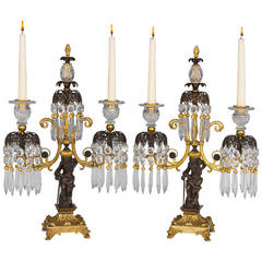 Pair of Regency Period Gilt Lacquered and Bronzed Twin Branch Candelabra