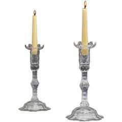 Fine Pair of Cut Glass Georgian Candlesticks