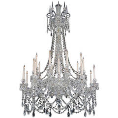 Important Twenty-Light Cut-Glass Chandelier by F. & C. Osler