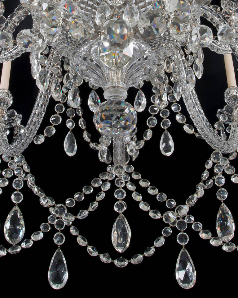 British Important Twenty-Light Cut-Glass Chandelier by F. & C. Osler For Sale