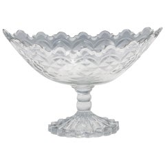 Georgian Irish Cut Glass Boat Shaped Bowl