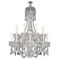 Victorian Sixteen-Light Cut Glass Antique Chandelier by Perry & Co
