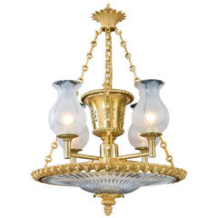 Fine Regency Period Ormolu and Glass Dish Light