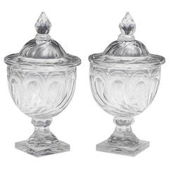 Fine Pair of Swirl-Cut Georgian Urn and Covers