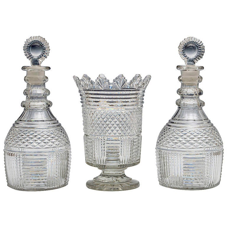 Pair of Regency Decanters with Matching Vase