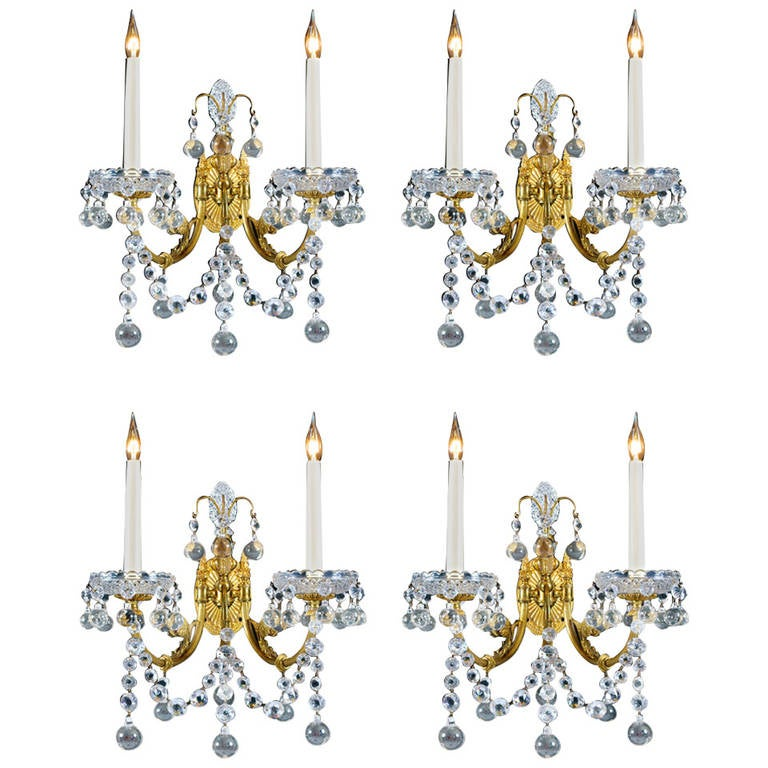 Set of Four Cut-Glass and Brass Lacquered Wall Lights by Perry & Co.