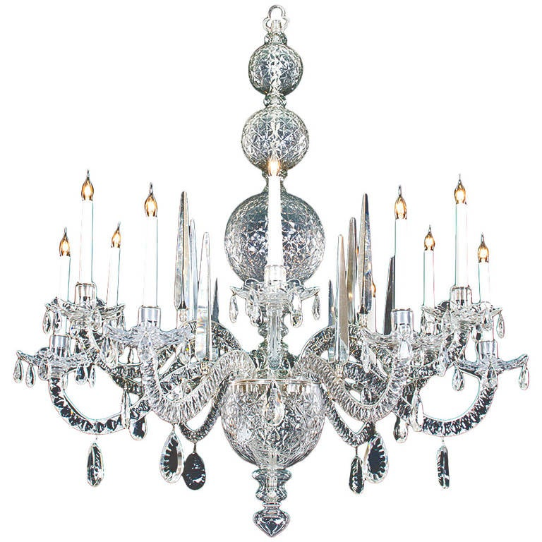 Fine Quality, Twelve-Light Cut-Glass Antique Chandelier of George II Style