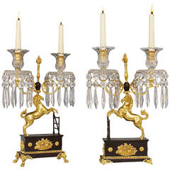 Unusual Pair of Regency Ormolu and Bronzed Cut-Glass Horse Candelabra