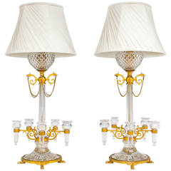 Unusual Pair of Ormolu-Mounted Cut-Glass Lamps by F. & C. Osler
