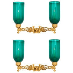Pair of Regency Swing Arm Wall Lights with Green Storm Shades