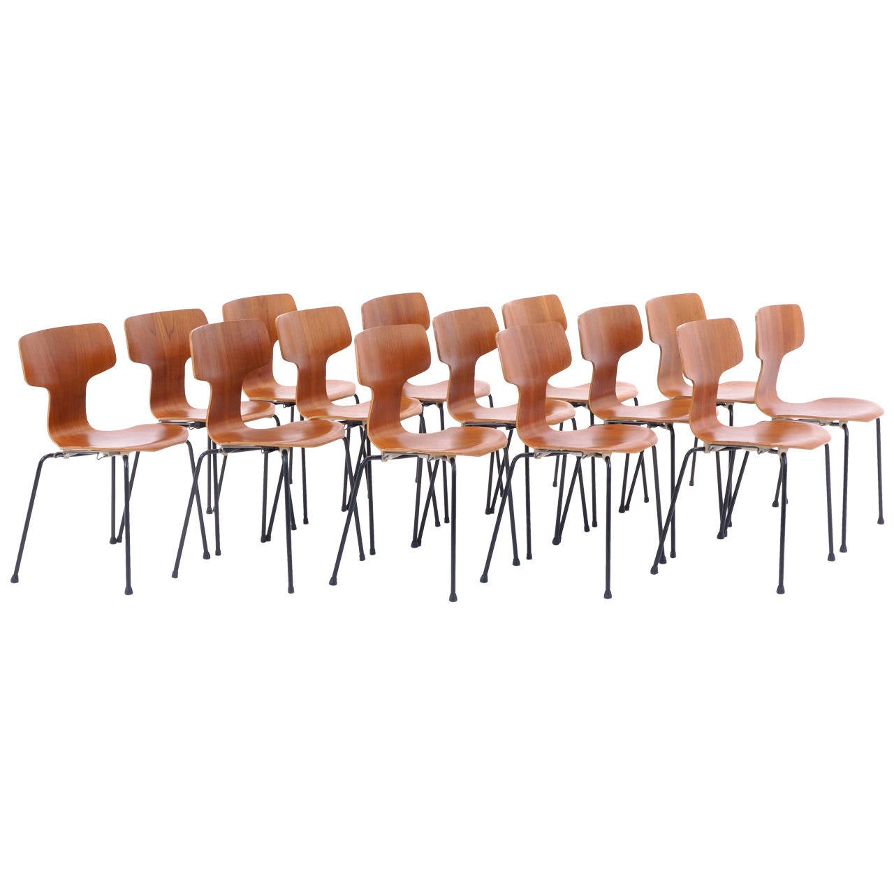 arne jacobsen teak 3103 stacking chairs set of 12 for sale at 1stdibs
