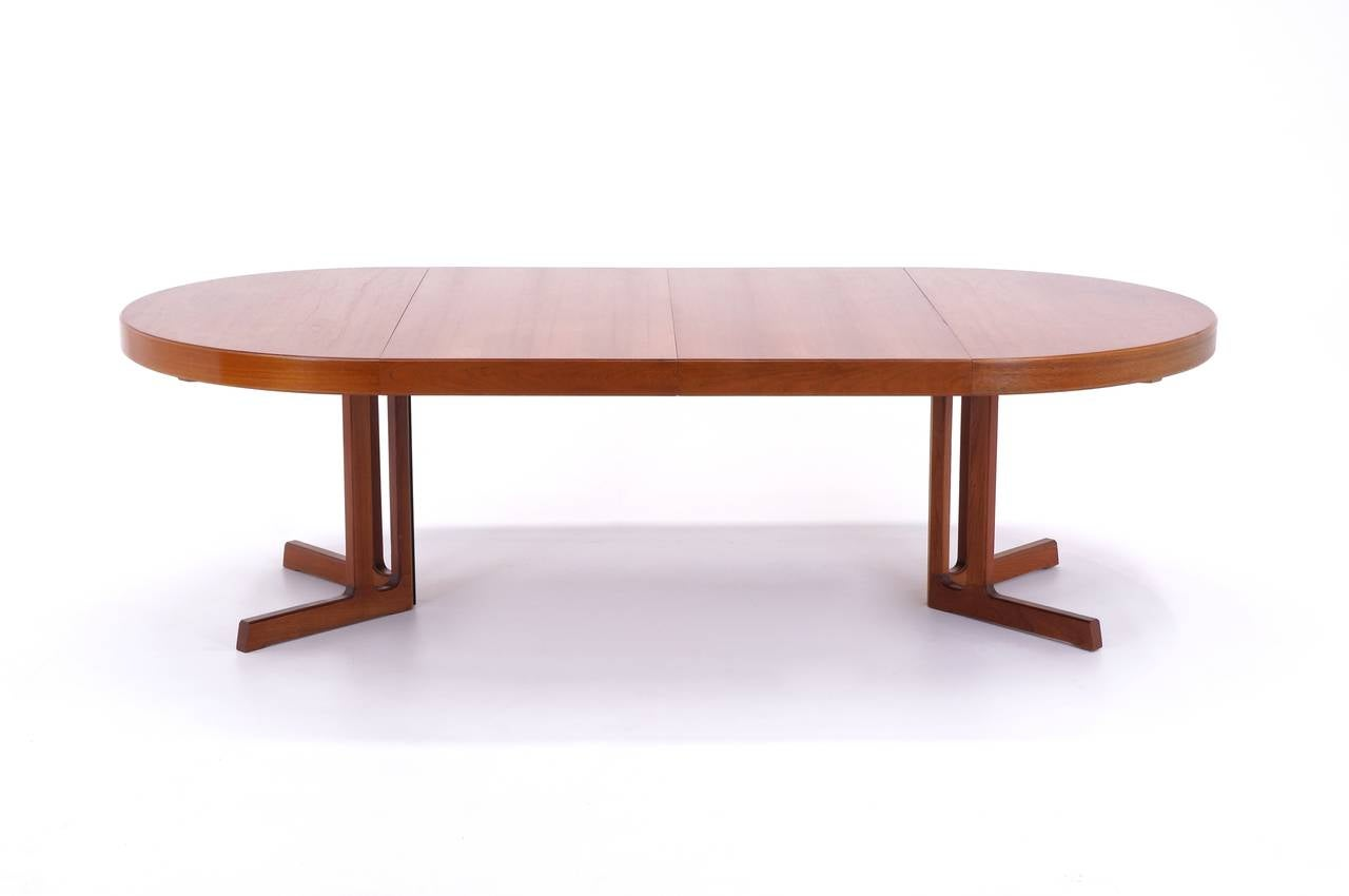 Danish Modern Teak Extendable Dining Table Attributed To