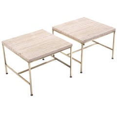 Pair of Paul McCobb Brass and Travertine Side Tables