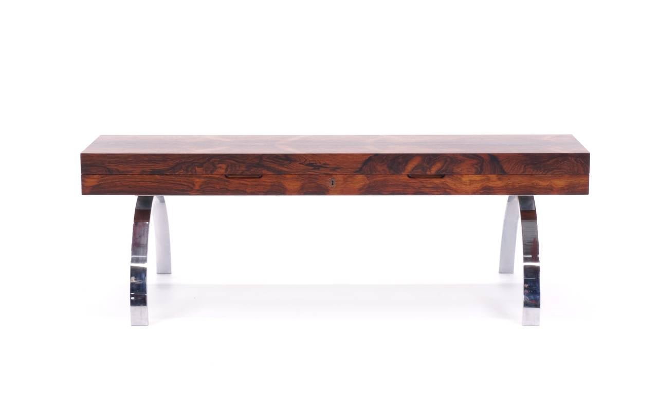 Rosewood Bench With Chromed Steel Legs And Lift Top