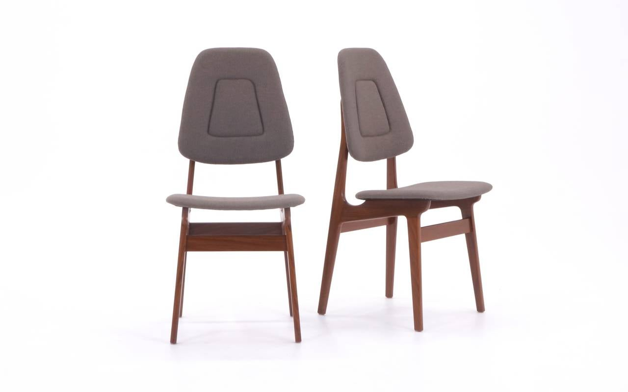 Set Of Ten Scandinavian Dining Chairs Walnut Frames New Upholstery At 1stdibs