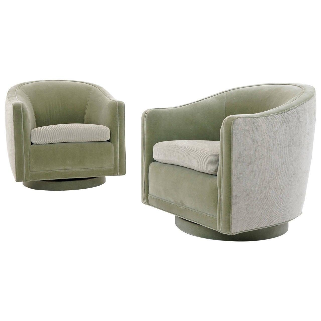Pair of barrel back swivel lounge chairs by edward wormley for Swivel chairs