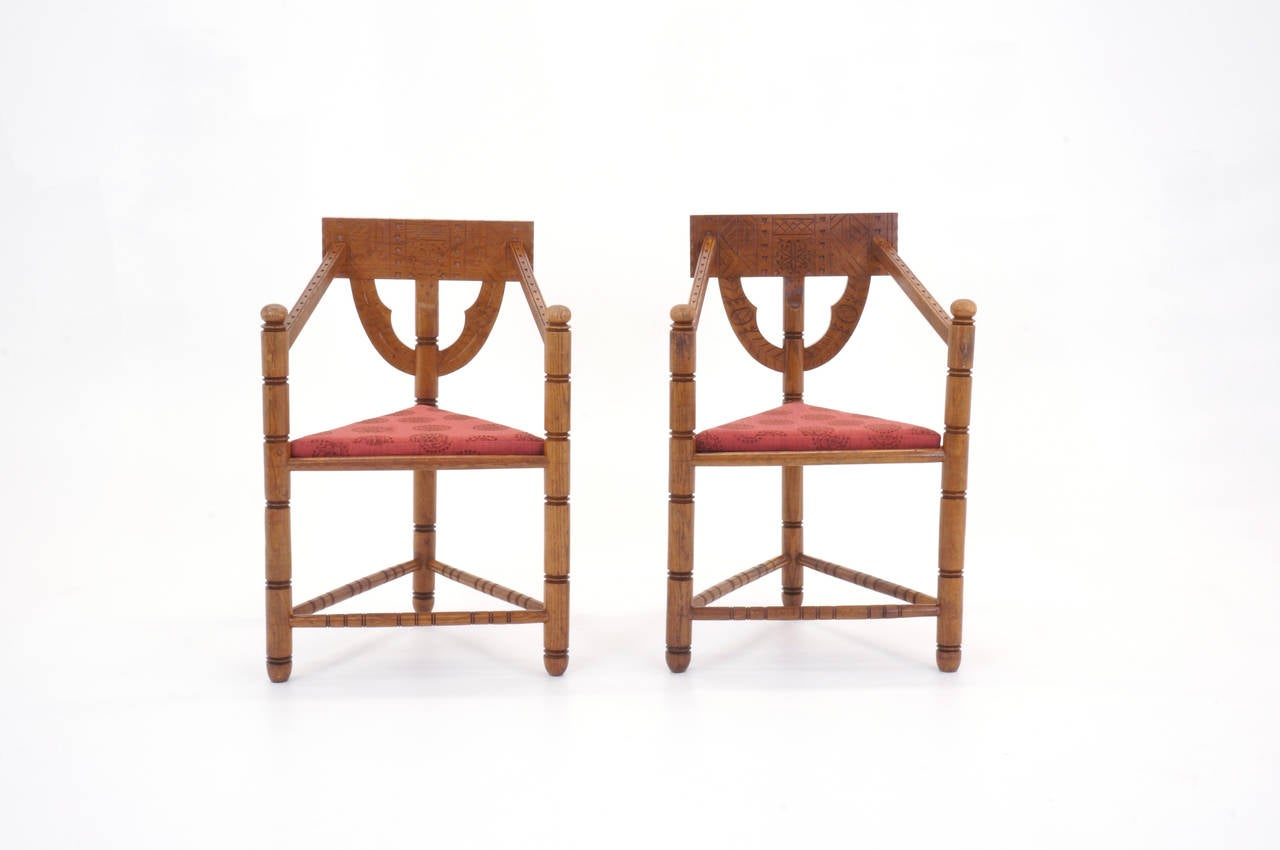 Unusual pair of Swedish armchairs. Hand-carved design.