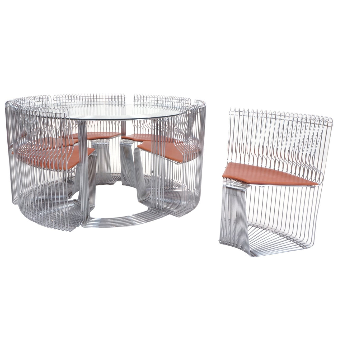 "Verner Panton ""Pantonova"" Dining Set of  Dining Table and Six Chairs"