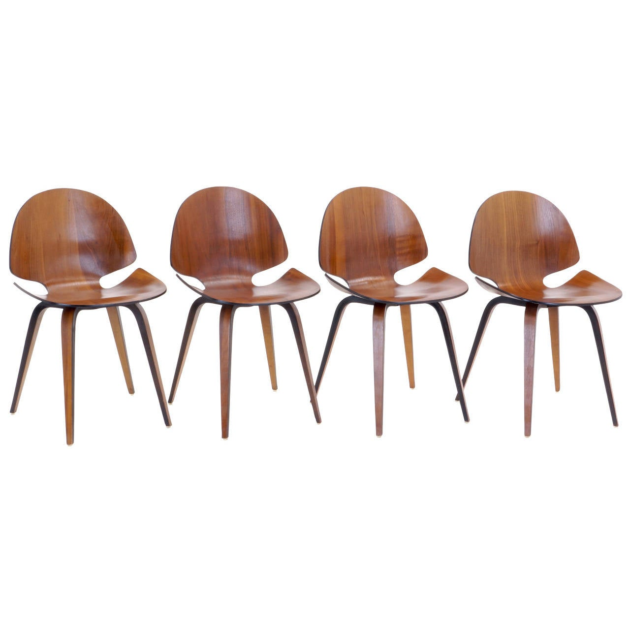 rare set of four george milhauser for plycraft bentwood dining chairs 1