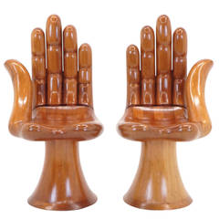 Original Pedro Friedeberg Hand Chairs Pair, Left and Right.  Settee.