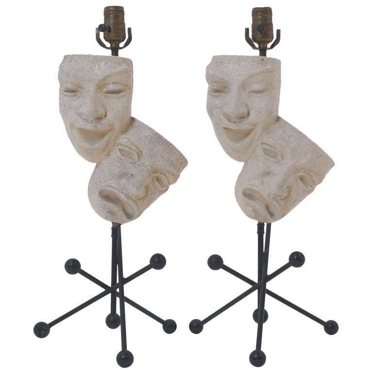 Pair of Frederic Weinberg Comedy and Tragedy Table Lamps For Sale