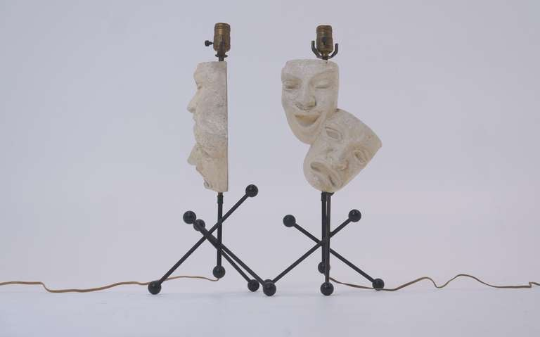 American Pair of Frederic Weinberg Comedy and Tragedy Table Lamps For Sale