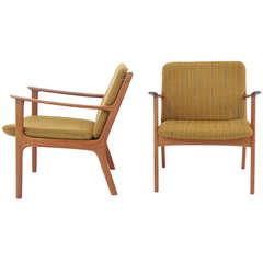 Pair of Ole Wanscher Danish Modern Teak Lounge Chairs