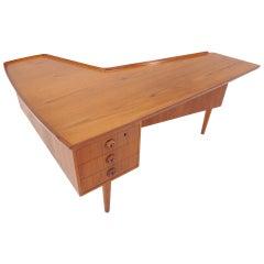 Arne Vodder Teak Desk with Built in Bar
