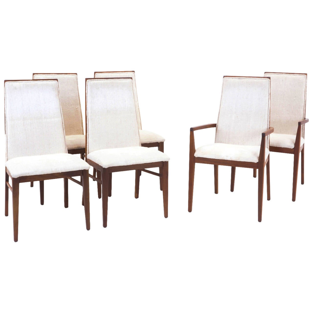 set of six milo baughman for dillingham walnut dining chairs at  - set of six milo baughman for dillingham walnut dining chairs