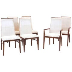 Set of Six Milo Baughman for Dillingham Walnut Dining Chairs