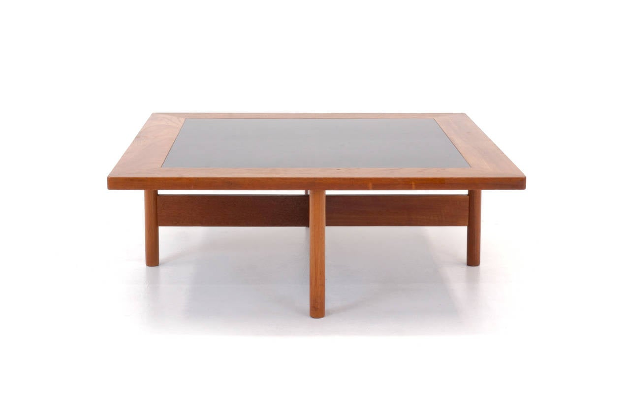 Danish Modern Teak Coffee Table With Stools At 1stdibs