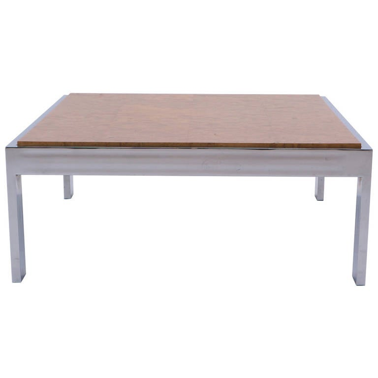 Milo Baughman For Thayer Coggin Chrome And Burl Wood Coffee Table For Sale At 1stdibs