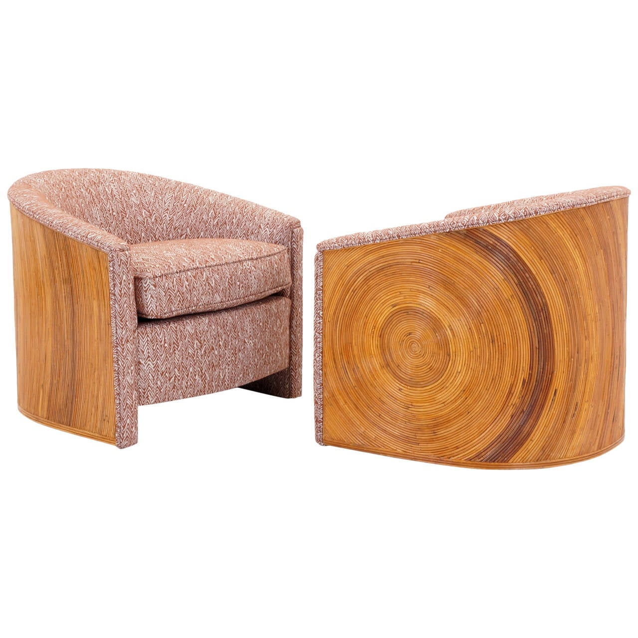 Pair of 1970s Bamboo Lounge or Club Chairs