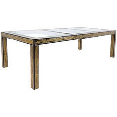 Mastercraft Etched Brass, Glass and Lacquered Wood Dining Table