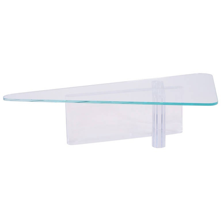 Acrylic And Glass Coffee Table: Lion In Frost Lucite Or Acrylic And Glass Coffee Table At
