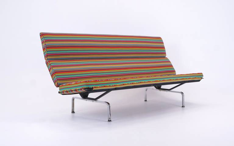 Mid Century Modern Charles And Ray Eames Sofa Compact Alexander Girard Miller Stripe Fabric